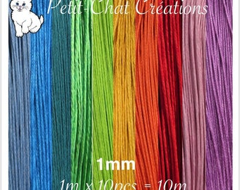 Lot 10 m of cotton yarn Mix waxed 1 mm multicoloured * CU4