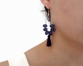 Purple earrings, Beaded Earrings, Tassel earrings, Hoop Earrings, Boho Earrings, Crystal Beaded Earrings, Long earrings, Crystal earrings