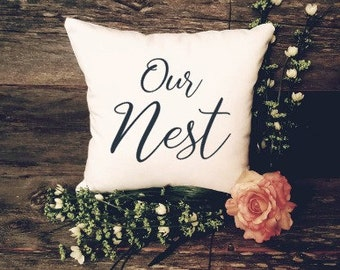 Our Nest Pillow - Bless Our Nest - Housewarming Gift - Couples Gift - Welcome Pillow - Rustic Pillow Decor - Farmhouse Decor - Lake House