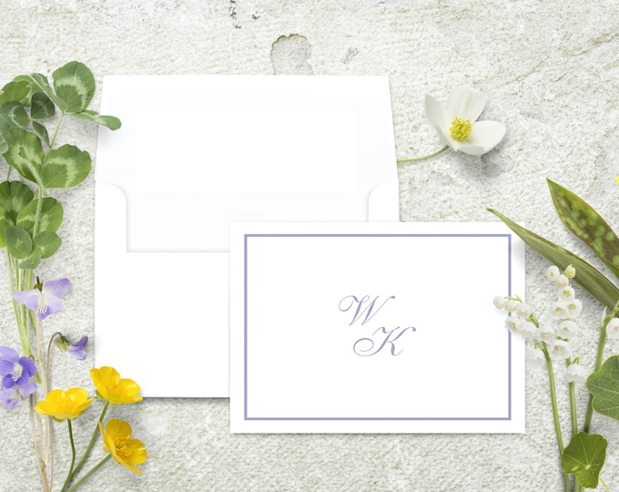 Featured listing image: Monogram Note Cards, Personalized Stationery Set, Note Cards with Border, Thank You Cards, Classic Stationary Set, Custom Note, Monogrammed