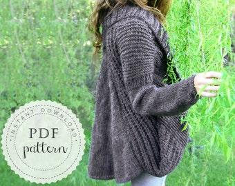 PDF pattern MIA cardigan trendy high fashion design sweater cool loose shape