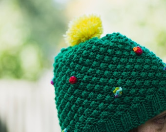 Knitted Christmas Tree Hat