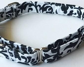 Black and White Damask Martingale Dog Collar