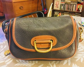 Vintage early nineties Dooney and Bourke handbag small crossbody leather brass