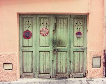 """French street photograph - wooden doors print - coral pink mint green wall art - Provence France - travel photography """"Celadon Doors"""""""