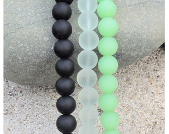 Cultured sea glass  beads, recycled glass beads  10 mm, 21 pcs