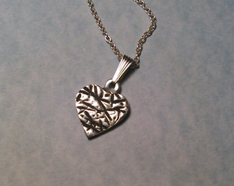 Sterling Silver Textured Heart Necklace