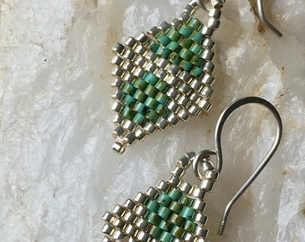 Pennyweights - in silver and turquoise, handwoven seed beads