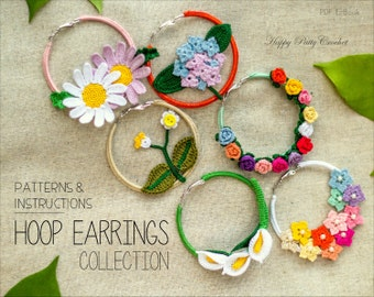 Crochet Earrings Pattern Collection - Crochet Hoop Earrings Pattern - Crochet Rose Earrings - Calla Lily Earrings Crochet Pattern