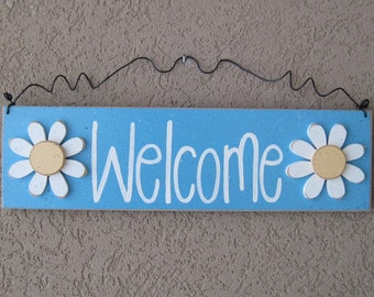 Free Shipping- Welcome sign with Daisies (Aqua Blue) for home and office door hanging sign