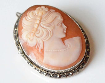 Vintage 800 Silver Marcasite Carved Shell Cameo Noueau Style Deco Pin Brooch Pendant
