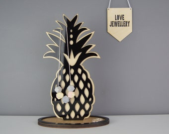 Pineapple Jewellery Stand | Jewellery Holder |Pineapple Ring Dish |Black or Mirror | Personalise | jewelry storage | Necklace Hanger | NAJB