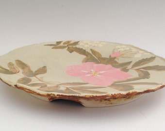Ceramic Platter with Wild Roses and Buckwheat Blossoms
