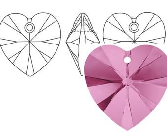 Swarovski 6228 Crystal Heart Pendant 18mm Rose 1PC 3PC