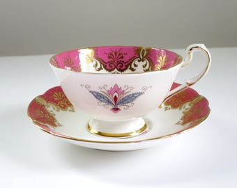 Tea Cup and Saucer, Vintage Paragon Tea Cup, Pink Cup and Saucer set, Pink and Gold Paragon Tea Cup Saucer, Vintage Cup Saucer Set, Gifts