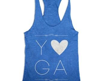 Yoga Tank Top - Love Yoga - Womens Workout Tank Top - Tri Blend Tank Top - Many Colors