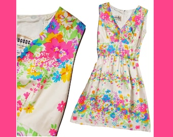 1960s Silk Fosters Floral Dress