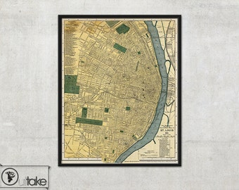 Wall map of St Louis - Interior map design - Home decor - 139