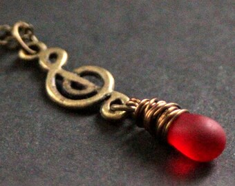 Treble Clef Necklace. Music Necklace. Musical Note Necklace. Clouded Red Teardrop Necklace in Bronze. Handmade Jewelry.