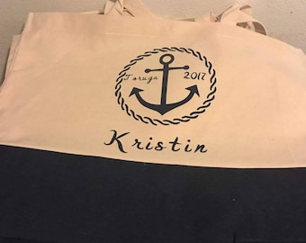 Canvas Beach Bags, Nautical Canvas Navy Bag, Personalized Beach Bags, Bridal Gifts, Wedding Party Gifts