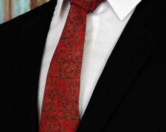 Red Neckties – Mens Red and Gold Ties, Also Available as a Skinny Tie and Extra Long Tie.