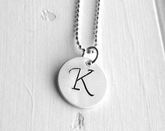 Letter K Necklace, All Letters Available, Initial Necklace, Letter K, Initial Jewelry, Monogram Sterling Silver Jewelry, Charm Necklace, K,
