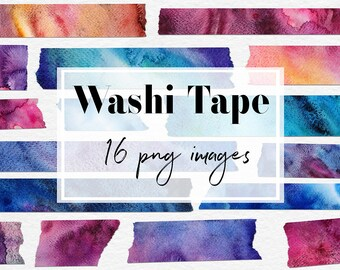 Watercolor Washi Tape, Galaxy Watercolor Tape, Washi Tape Clipart, Washi Tape Graphics, 16 PNG Tapes For Decoration & Labels, BUY7FOR10