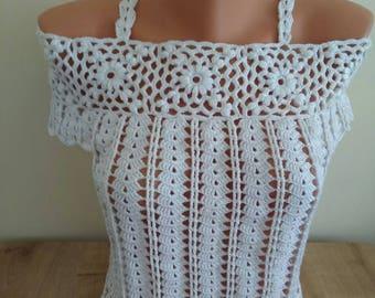 White Crochet Top,Crochet Crop Top, Bikini Crochet Halter Top - Made To Order