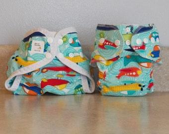 Preemie Newborn Cloth Diaper & Diaper Cover Set-  4 to 9 pounds- Airplanes- 29057