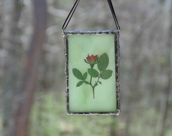 Stained glass rose flower terrarium suncatcher ornament, pressed flower art, mini wall art decor