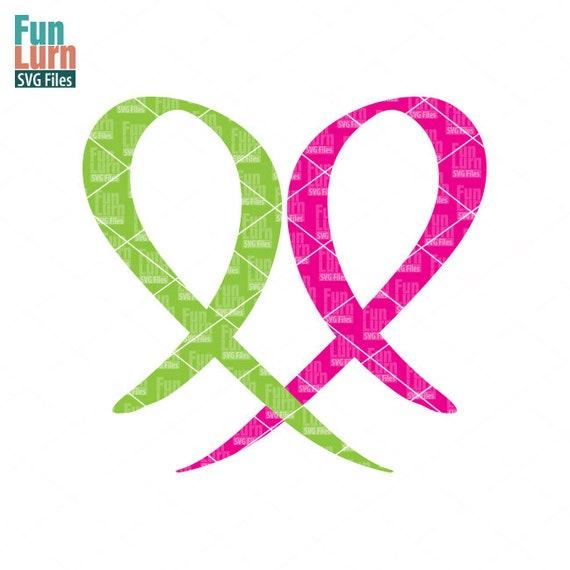2 Ribbon Heart Cancer Awareness Ribbons Heart Ribbon Heart