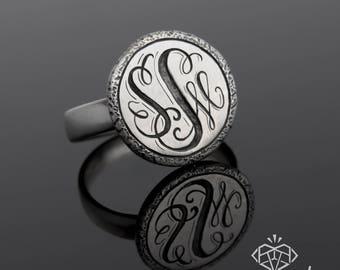 Monogram Ring, Custom Monogram Jewelry, Initial Ring, Statement Monogram Ring, Letter Ring, Sterling Silver Monogram Ring, Letter Ring
