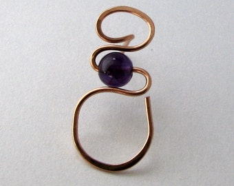 Eyeglass Pin Sunglass Holder Amethyst Bead Copper Wire
