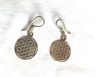 925 Sterling Silver Flower of Life Earrings Chakra Geometry