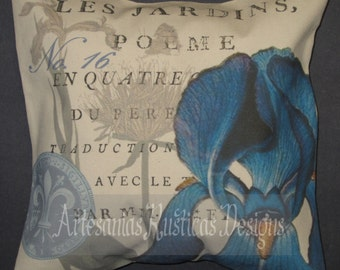 French Pillow 100% Cotton Canvas and Burlap Vintage Blue Iris and French Text Throw Pillow Cover Euro Sham