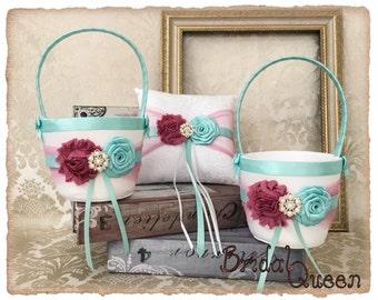 Flower Girl Basket & Ring Bearer Pillow Set