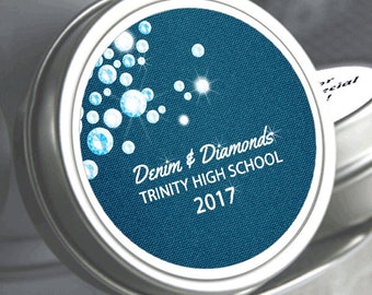 "12 Personalized Denim and Diamonds Prom Mint Tin Favors - Select the quantity you need below in the ""Pricing & Quantity"" option tab"