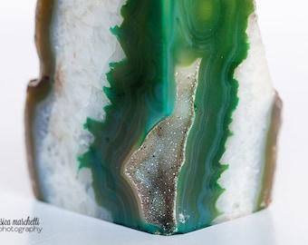 Geode Art, Agate Photograph, Fine Art Photography, Crystal Agate Geode Slice Art Print, canvas art, emerald art, green decor, green wall art