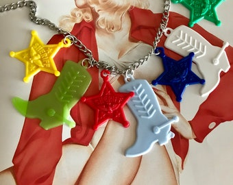 New Sheriff in Town Retro Vintage Styled Charm Necklace