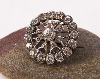 Antique Silver Paste Brooch, Round Silver Brooch, Silver Paste Brooch