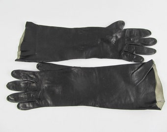 Black leather gloves, victorian steampunk gauntlets, starwars costume, gothic gloves in soft washable leather