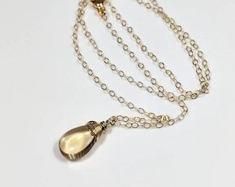 Beer Quartz Necklace Gemstone  Briolette Gold Necklace