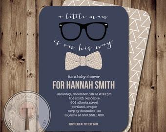 Little Man Baby Shower Invitation, Bow Tie Baby Shower, Bow Tie, Little Man, Chevron, Invite, hipster baby shower, hipster invite