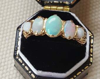 Vintage Opal Five Stone Gold Ring