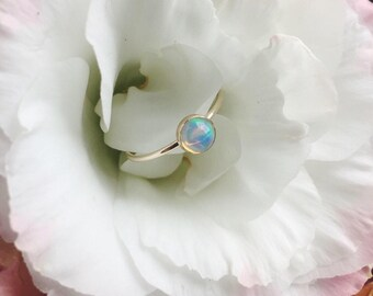 Ethiopian opal bezel set ring - sterling silver - 14k gold filled - October birthstone - birthday gift - stackable - everyday style - modern