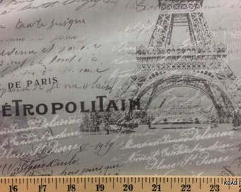 Paris Gray Fabric By the Yard Postcard Script Eiffel Tower Travel Fabric a1/11