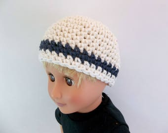 18 inch Boy Doll  Crochet Hat Natural with Navy Stripe Cotton Beanie Accessories Toys