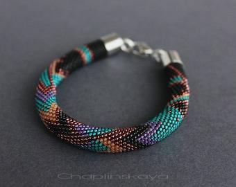Tribal Bracelet Bead Crochet Rope Purple Bracelet Beaded Bracelet Unisex Bracelet