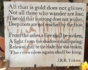 The Lord of the Rings, Western Wall Art, Not All Who Wander Are Lost, JRR Tolkien, Rustic Sign, Barnwood Sign, Hand painted Sign