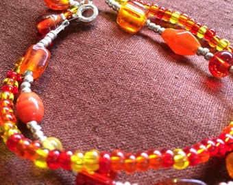 Orange double with a dangle